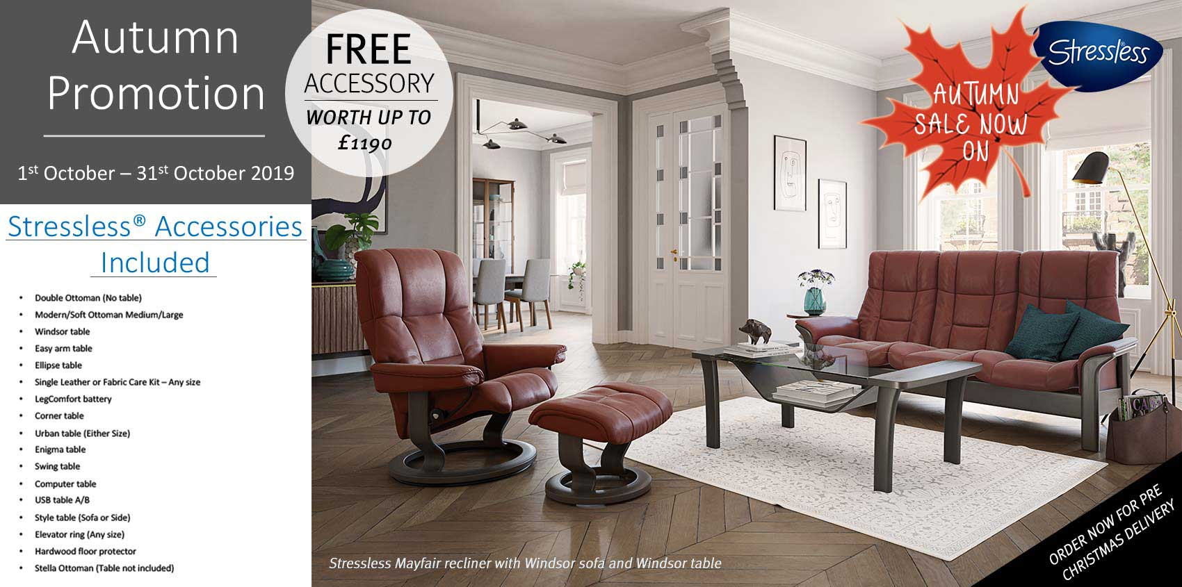 Stressless free accessory promotion