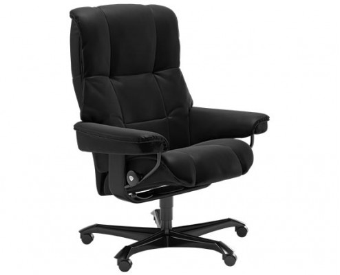 Stressless Promotional Mayfair Medium Office Chair in Black Wood and Black Paloma Leather
